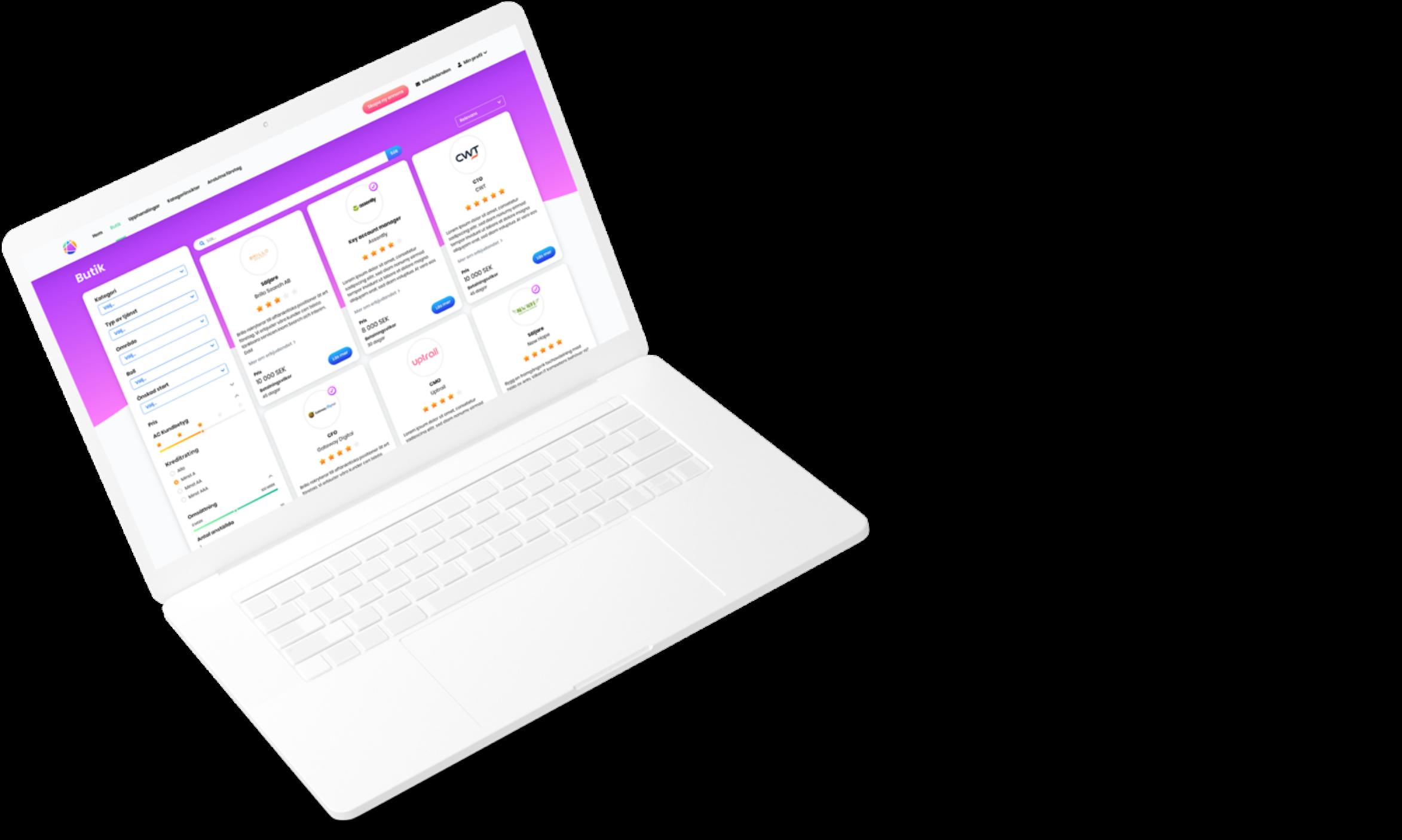 Laptop displaying internal web